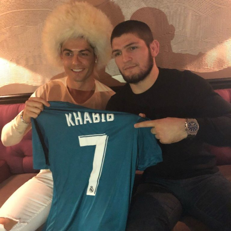 Khabib and Cristiano Ronaldo wearing papakha