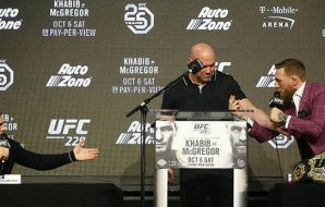 Khabib Nurmagomedov and Conor McGregor at press conference