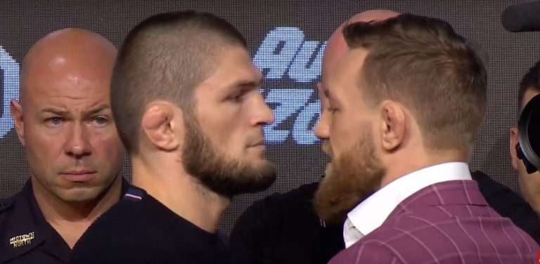 McGregor vs Khabib staredown at press conference