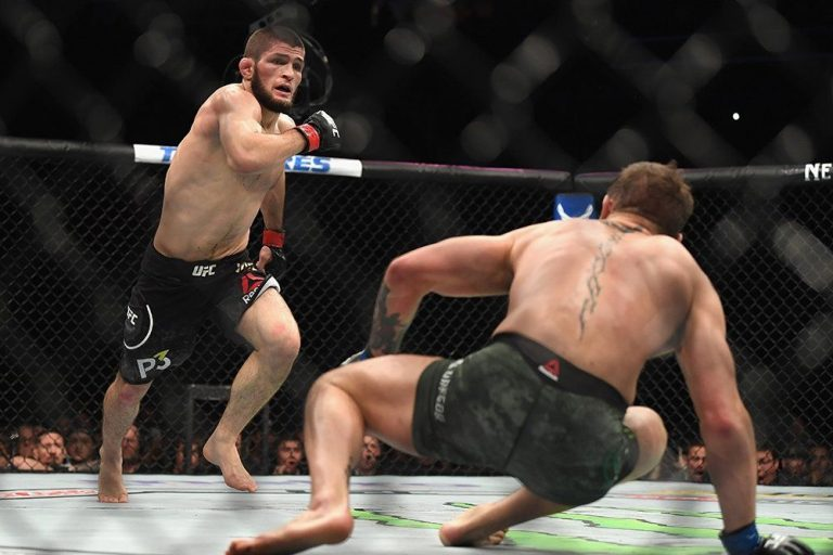 Khabib knocked down Conor McGregor with the overhand right