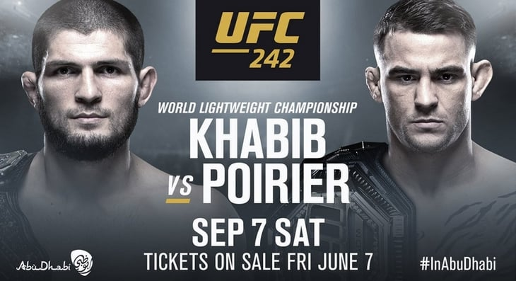 Poster for Khabib vs Poirier fight on September 7 2019