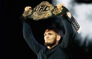 Undefeated UFC Lightweight champion Khabib Nurmagomedov with the champion's belt