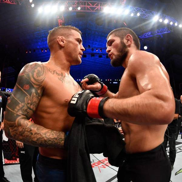 Khabib and Dustin Poirier after their bout