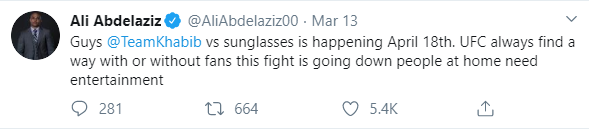 Ali Abdelaziz tweets regarding canceling Khabib vs Ferguson because of coronavirus.
